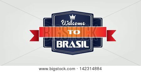 Welcome to Brasil card with crown and ribbon over white background in outlines. Digital vector image