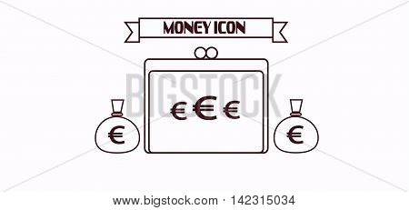 Money icon with euro and dollar currency symbols with a wallet over white background in outlines. Digital vector image