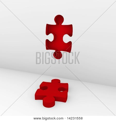 3D Puzzle Red Wall