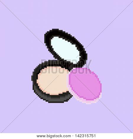 Pixel powder on the rose background. Vector illustration.