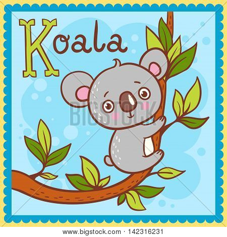 Vector picture with cartoon animals. Illustrated alphabet letter K and koala.