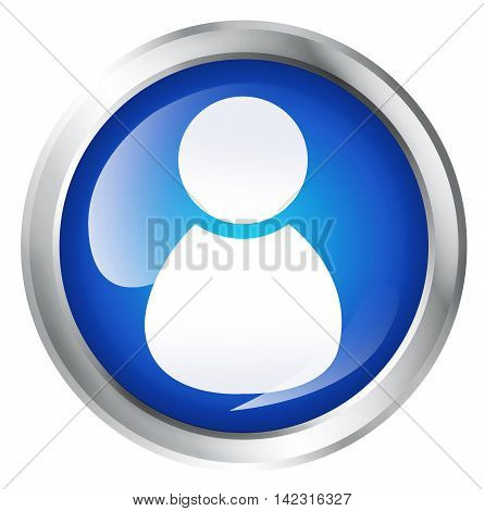 Blue icon, isolated on White. Glossy blue icon with admin symbol. Service icon. 3D illustration