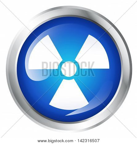 Blue icon, isolated on White. Glossy blue icon with atomic or radiocative symbol. Service icon. 3D illustration