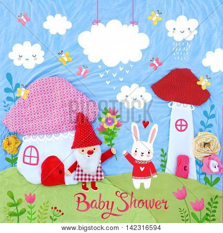 Baby shower design with place for text. Creative art photo of a gnome and rabbit.