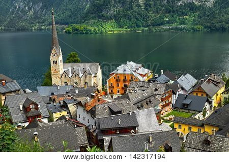 Hallstatt Austria Hallstattsee Austria. Hallstatt village view with the lake in the background