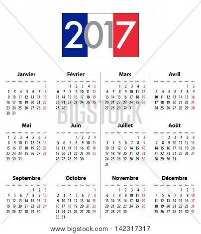 French Calendar grid for 2017 year. Flag colors under 2017 digits. Best for calendar print business web design office needs and presentations. Mondays first. Vector illustration