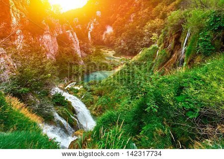Waterfalls in the national park. Plitvice Croatia