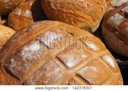 Traditional baked bread. Round  loafs.