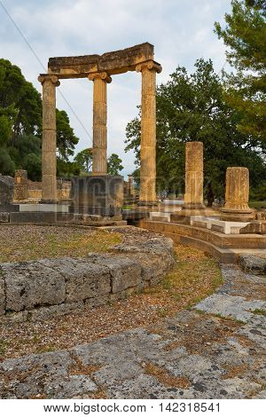 Philippeion in the archaeological site of Ancient Olympia.