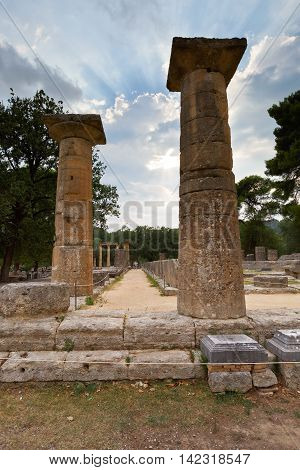 Temple of Hera in the archaeological site of Ancient Olympia.