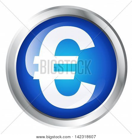 Glossy icon or button with Euro symbol. European currency symbol. 3D illustration
