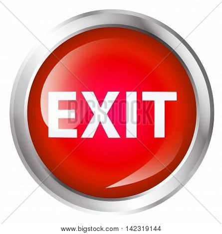 Glossy icon or button with exit text. Exit symbol. 3D illustration