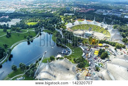 Bird's-eye view of the park in Munich, Germany