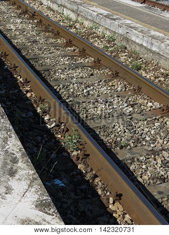 Railway railroad tracks for train public transport