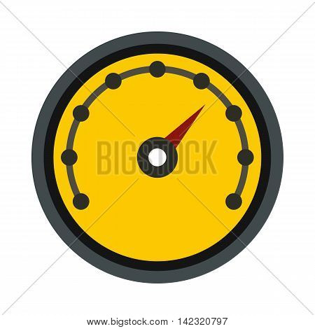 Yellow speedometer icon in flat style on a white background