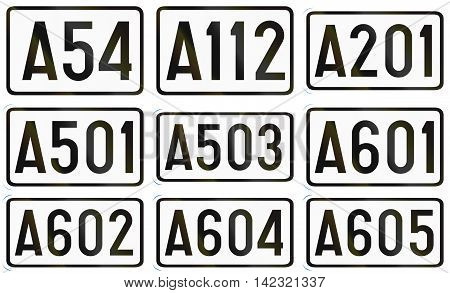Collection Of Numbered Highway Shields Used In Belgium