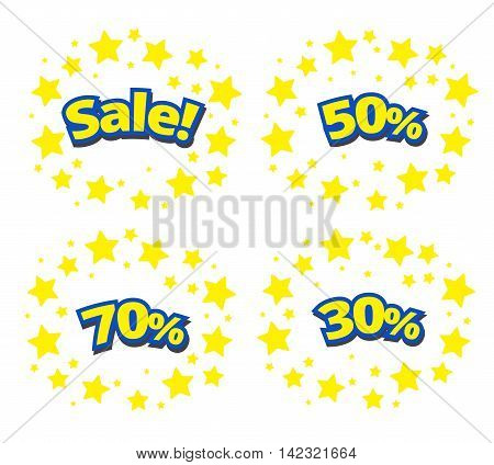 phrases written in a cartoon game style yellow color with blue stroke. sale discount 50%70%30% surround with yellow star.