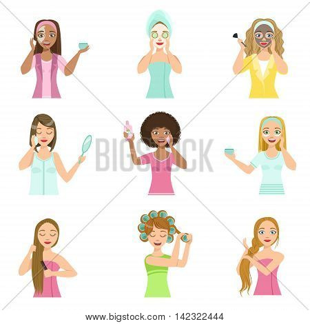 Girls Preening Up Using Masks And Creams Set Of Isolated Portraits In Simple Cute Vector Design Style On White Background