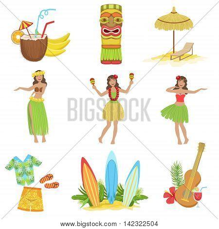 Hawaiian Vacation Set Of Classic Symbols.. Isolated Flat Vector Icons With Traditional Hawaiian Representations.