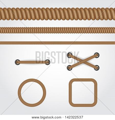 Seamless rope set. Circle square frames and straight brown rope or cable line.