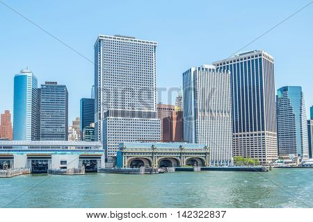 View of the ferry slips at Battery Maritime Building and Staten Island Ferry Terminal, New York
