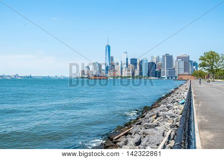 NEW YORK CITY, USA - JUNE 24, 2016: Downtown Manhattan - view from Governors Island
