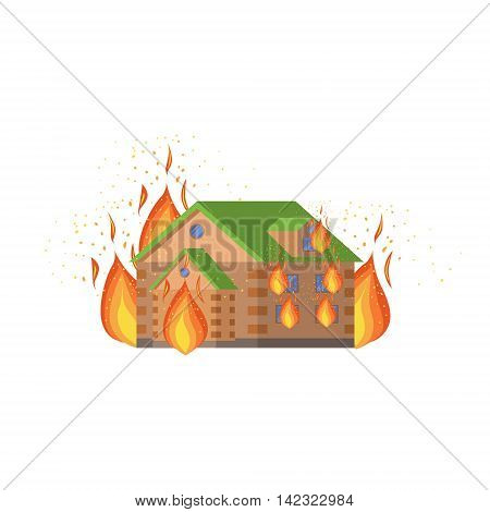 House On Fire, Natural Forces Threat Flat Vector Illustration. Insurance Case Clipart Drawing In Childish Cartoon Style.