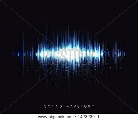 Soundwave waveform vector illustration on black background