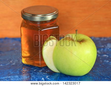 Honey with green apple for Rosh Hashanah