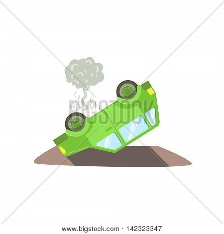 Car Laying On Its Roof After A Crush Flat Vector Illustration. Insurance Case Clipart Drawing In Childish Cartoon Style.