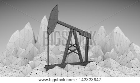 Low poly mountains landscape. 3d illustration. Polygonal mosaic background with simple oil pump icon covered by grid