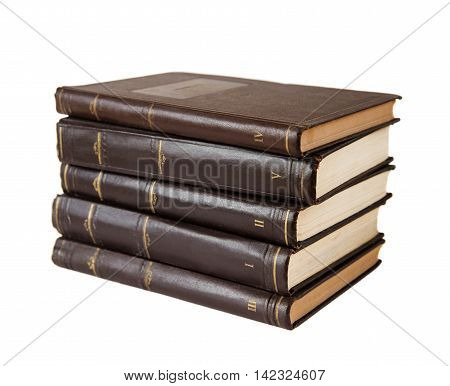 Stack of books isolated on a white background. Complete works