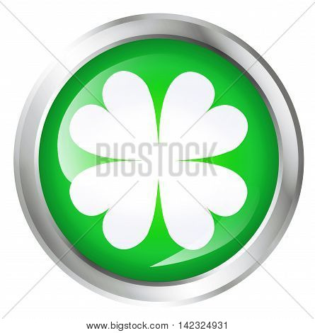 Glossy icon or button with four leaf clover or luck symbol. 3D illustration