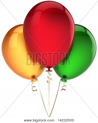 Three helium balloons colorful