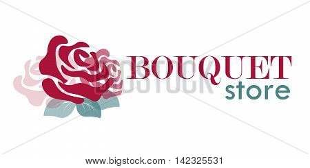 logo with rose for bouquet store or flower shop in vector
