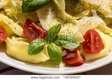 Close up on plate of freshly prepared tortellini pasta with basil tomato and herb garnish