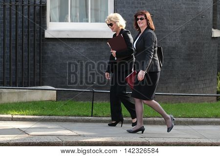 LONDON, UK, MAY 17, 2015: Anna Soubry (L) and Nicky Morgan MP arrive for a Cabinet meeting in Downing Street