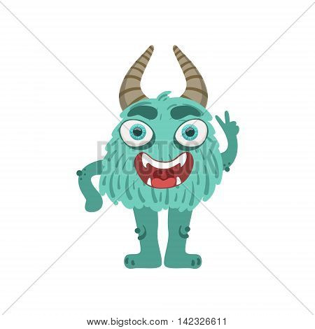 Furry Turquoise Friendly Monster With Horns Cute Childish Sticker. Flat Cartoon Colorful Alien Character With Party Attributes Isolated On White Background.