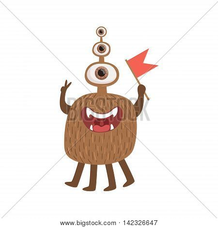Bromn Many-eyed Friendly Monster With Flag Cute Childish Sticker. Flat Cartoon Colorful Alien Character With Party Attributes Isolated On White Background.