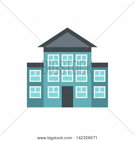 Bank building icon in flat style on a white background