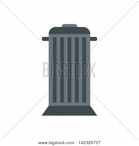 Gray trash can with lid icon in flat style on a white background