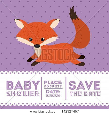 fox animal baby shower card icon vector illustration graphic