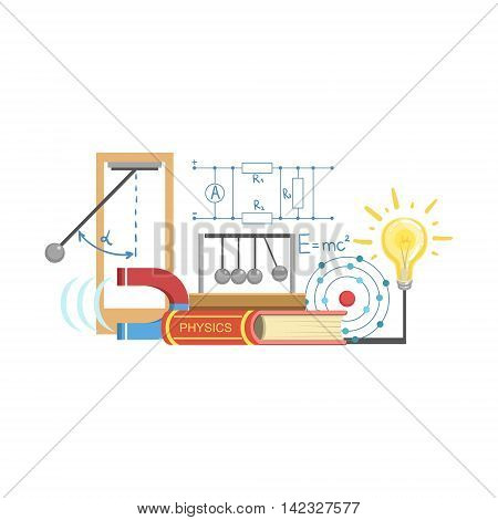 Physics Class Related Objects Composition, Simple Childish Flat Colorful Illustration On White Background