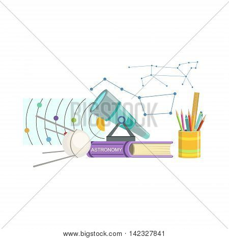 Astronomy Class Related Objects Composition, Simple Childish Flat Colorful Illustration On White Background