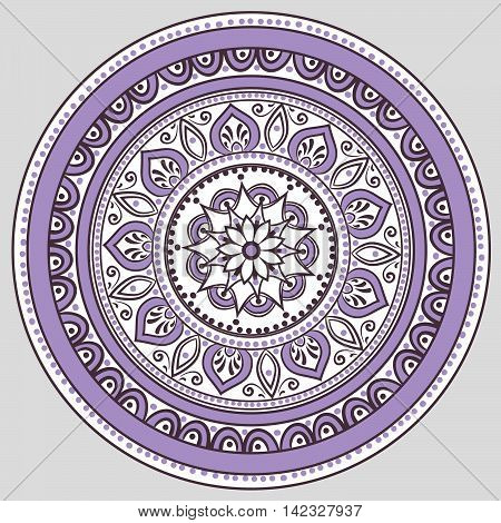 Drawing of a floral mandala in violet and white colors on a gray background