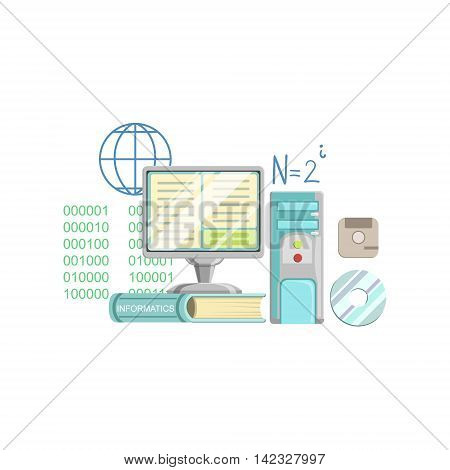Informatics Class Related Objects Composition, Simple Childish Flat Colorful Illustration On White Background