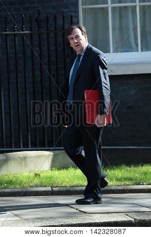 LONDON, UK, JUN 14, 2016: John Whittingdale MP arriving in Downing Street for the weekly cabinet meeting
