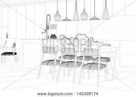 CAD planning of an eat-in-kitchen as a wireframe mash with dining table and chairs (3D Rendering)