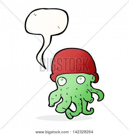 cartoon alien head wearing hat with speech bubble