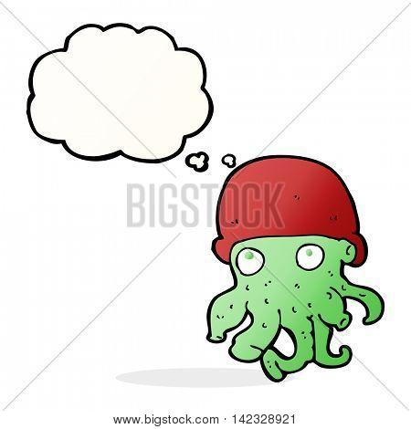 cartoon alien head wearing hat with thought bubble